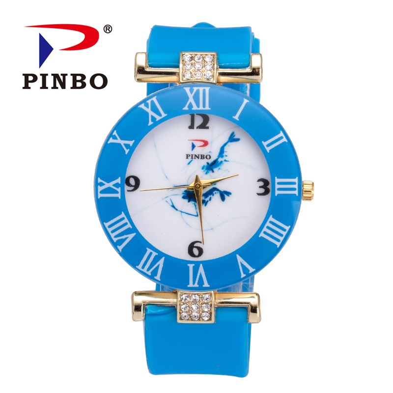 Women watch Silicone Band Casual Watch Fashion Brand PINBO Colorful Quartz Bracelets Crystal Jelly Watches Relogio Feminino