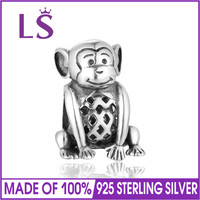 LS Authentic 925 Sterling Silver Animal Monkey Charm Bead Fit European Bracelet For Woman DIY Fashion