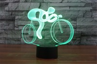 Ride Bike 3D Lamp LED Night Light 7 Color Changing 3D Visual Hologram Decor AAA Batteries