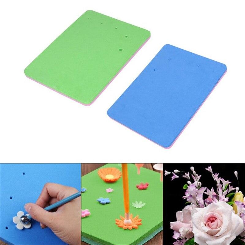 2Pcs Fondant Cake Foam Pad Sponge Mat for Sugarcraft Flower Modelling Shape Tool