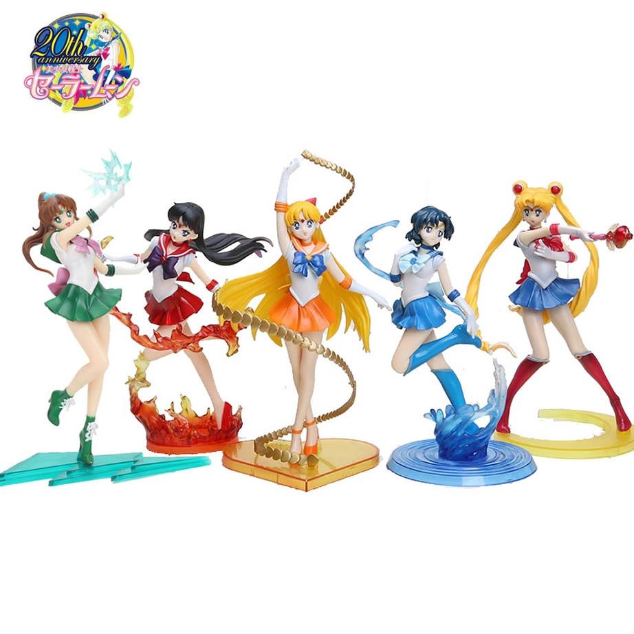 5 Styles 17cm Anime Sailor Moon Figures Tsukino Usagi Sailor Mars Mercury Jupiter Venus Saturn PVC Action Figure Model Toys gray j mars and venus in the bedroom