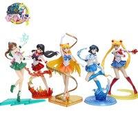 5 Styles 17cm Anime Sailor Moon Figures Tsukino Usagi Sailor Mars Mercury Jupiter Venus Saturn PVC Action Figure Model Toys