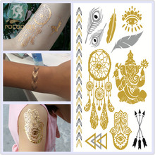 VT331/New 2015 Waterproof metallic flash temporary gold elephant dramcatcher feather tattoo sticker