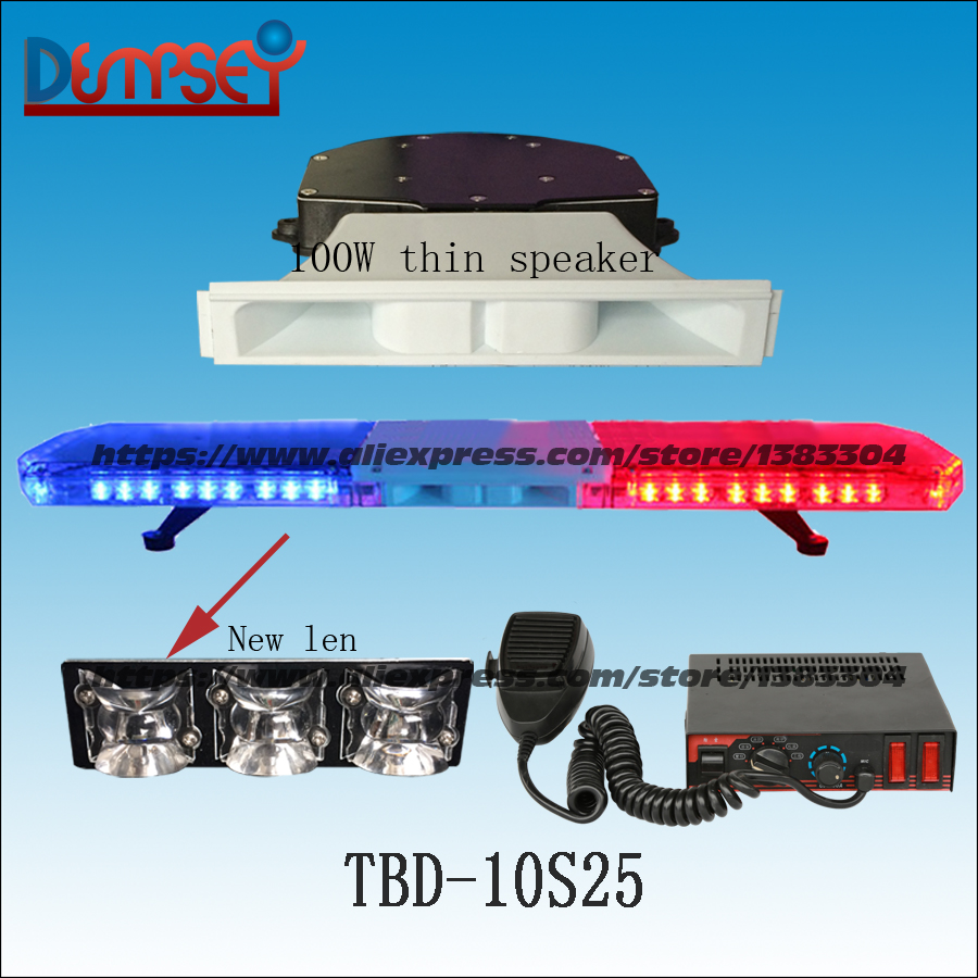 TBD-10S25 LED Emergency Warning Lightbar with speaker,New Len,Ambulance/fire truck/police/vehicle,Roof strobe warning lightbar higher star 140cm 104w led emergency lightbar truck warning light bar strobe light for police ambulance fire vehicles waterproof
