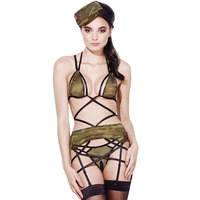 FGirl Cosplay Costume Sexy Halloween Costumes For Women 4pcs Sexy Sheer Army Lingerie Outfit FG41715