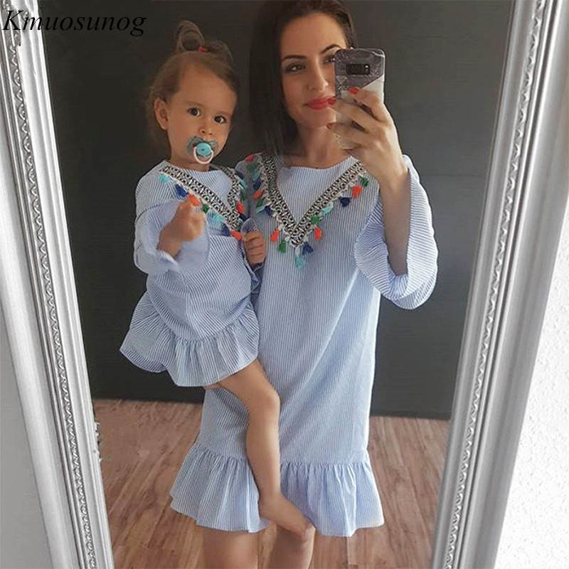 Mother And Daughter Dress 2019 Long Sleeve Stripe Tassel Mini Dress Mom And Daughter Dress Family Matching Outfits Clothes C0335