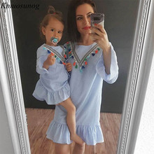 Mother and daughter dress 2019 Long Sleeve Stripe Tassel Mini Dress Mom Family matching outfits clothes C0335