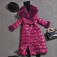 Cotton Padded Jacket Parkas Women Warm Long Coats Fashon Winter Fur collar Down cotton Overcoat With Belt
