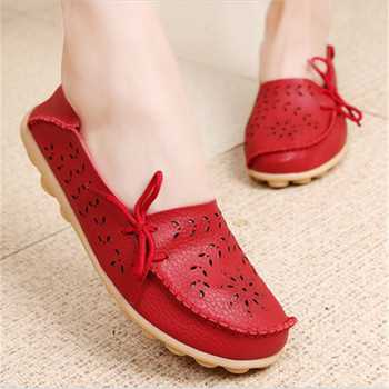 Women Flats 2018 Genuine Leather Shoes Mother Loafers Soft Shoes Woman Flats Driving Women Shoes Casual Footwear