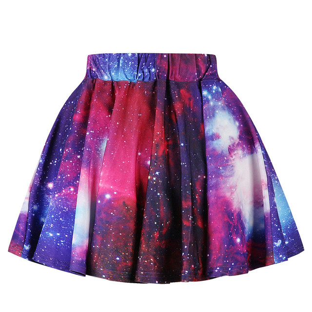 Toddler Kids Girl Galaxy 3D Digital Printing Princess Casual Pleated Tutu Skirt