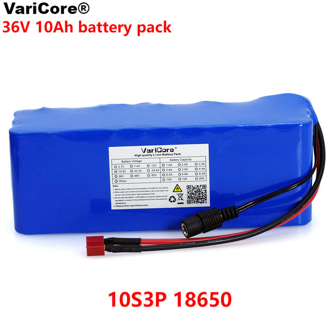 VariCore 36V 10000mAh 500W High Power and Capacity 42V 18650 Lithium Battery Motorcycle Electric Car Bicycle