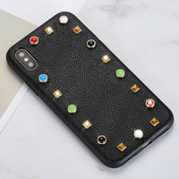 Wangcangli Genuine Leather Phone Case For iPhone X Litchi Texture rivet Back Cover For iPhone 6 6S 7 8 Plus SE 5 5S Phone Shell