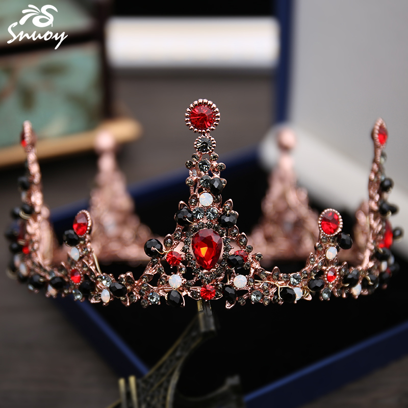 Snuoy Retro Baroque Crown Full Round Circle Tiara Golden Black Red Strass  Crowns Woman Headpiece Wedding Accessories Prom Queen-in Hair Jewelry from  Jewelry ... dace0579d534