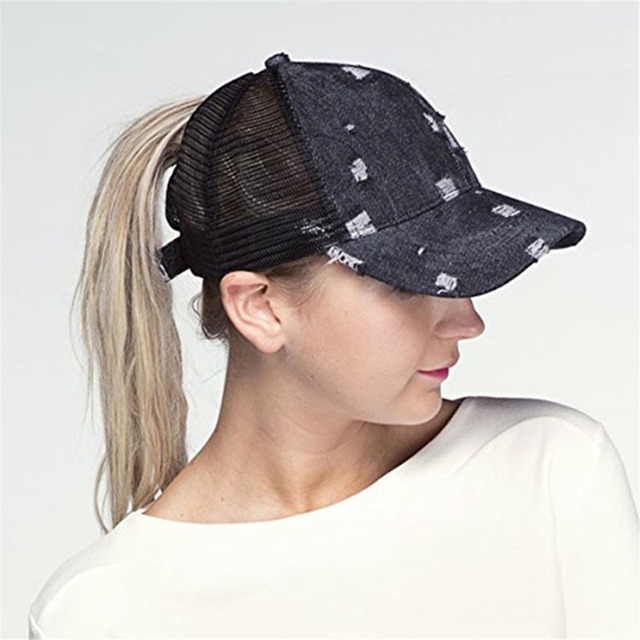 2018 Ripped Hole Ponytail Baseball Cap Women Messy Bun Baseball Hat  Snapback Summer Mesh Hats Casual Adjustable Sport Caps ae8a5d14a76