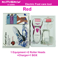 Red charged  pedicure electric tools Foot Care Exfoliating Foot Care Tool 2ps roller pedicure heads scholls KIMISKY and Package
