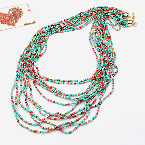 Handmade Boho Style Multilayer Chain Seed Beads Pendant Choker Long Necklace 5LLM