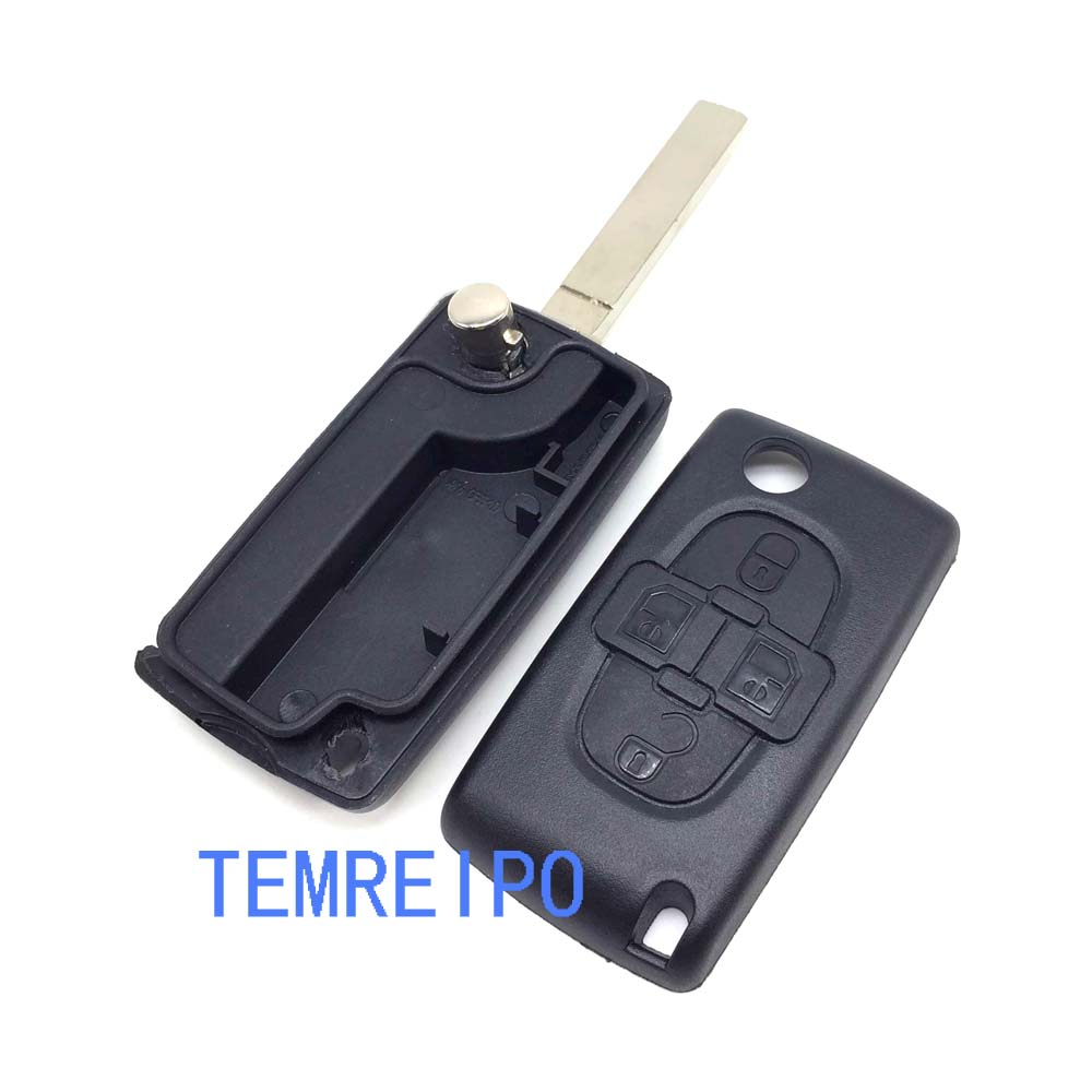4 button flip key blank without battery place CE0523 remote car key case shell for Citroen c8 image