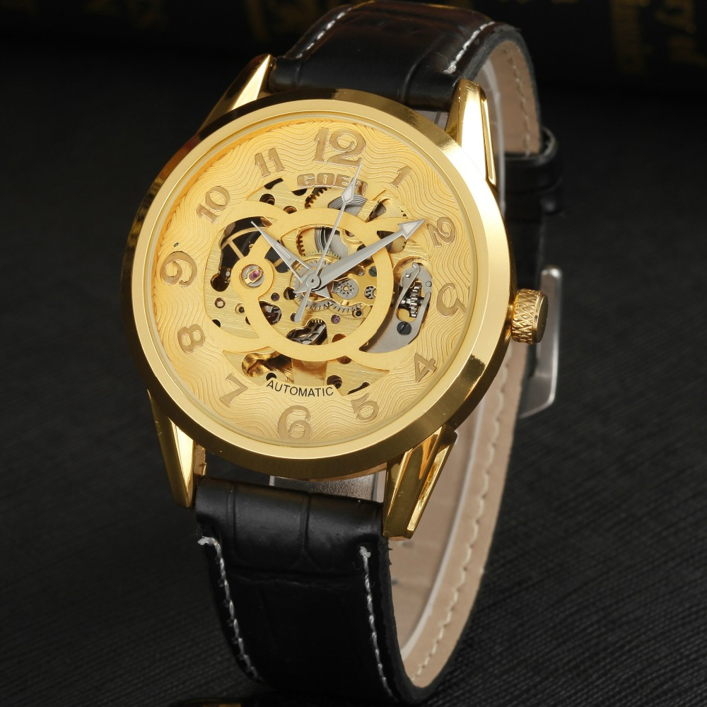GEOR brand mechanical watches Men s leather automatic watch male Wrist watch Luminous fashion Skeleton digital