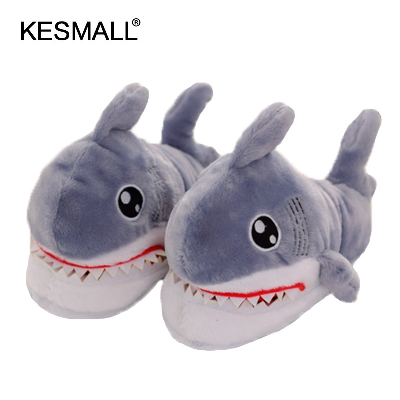 Winter Super Animal Funny Shoes For Men and Women Warm Soft Bottom Home&House Indoor Floor Shark Shape Furry Slippers Shallows 1
