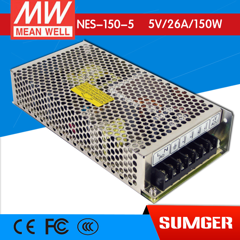[Only on 11.11] MEAN WELL original NES-150-5 5V 26A meanwell NES-150 5V 130W Single Output Switching Power Supply original meanwell nes 350 24 ac to dc single output 350w 14 6a 24v mean well power supply nes 350