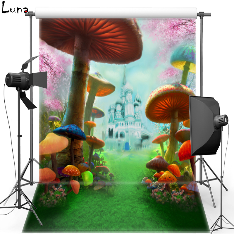 MEHOFOTO New Fabric Polyester Photography Background For Kids Fairy Tale Mushroom Vinyl Background For Children Photo Studio 508 vinyl photography background fairy tale