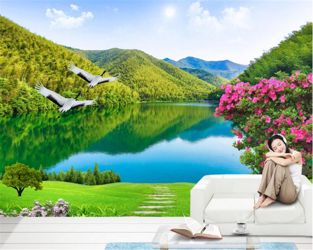 Beibehang Custom wallpaper beautiful rivers and mountains 3D landscape TV background wall living room bedroom mural