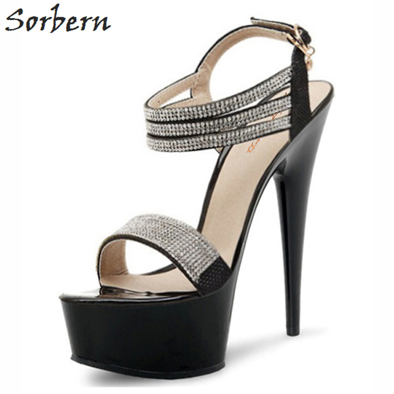 Sorbern Luxury Party Rhinestone Shoes Sandals Designer Brand Fashion Women Summer Platform Ankle Strap High Heels Ladies SandalsSorbern Luxury Party Rhinestone Shoes Sandals Designer Brand Fashion Women Summer Platform Ankle Strap High Heels Ladies Sandals