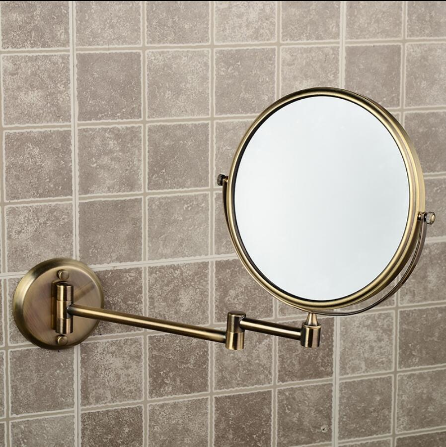 Bathroom Anti-bronze Wall Mounted 8 inch Brass 3X/1X Magnifying Mirror Folding Makeup Mirror Cosmetic Mirror Lady Gift high quality 8 bathroom mirror copper oil rubbed bronze retractable wall mounted bath makeup mirror