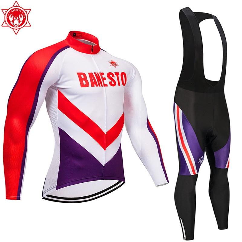 2018 Banesto Cycling Jersey Long Sleeve Ropa Cycling bib Pants ropa ciclismo thermal ciclismo jersey цена