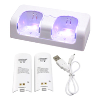 White Sofa Dual Charger Dock Station And 2 X 2800mah Rechargeable Battery Pack For Nintendo Wii