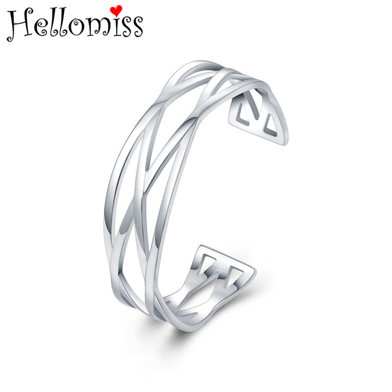 925 Silver Open Bangle Bracelet for Women Overlapping Cuff Bangles Adjustable Bracelets Fashion Brand Jewelry Gifts for Grils
