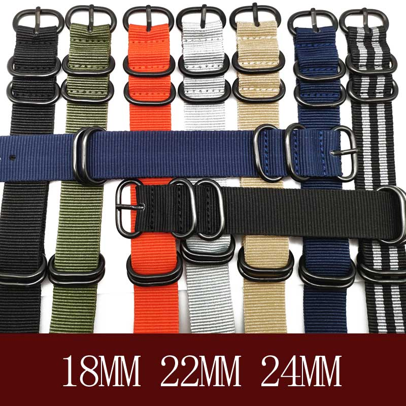 Brand Heavy duty nylon straps 20mm 22mm 24mm Nylon Watch Band NATO Strap Zulu strap watch ring buckle 280mm Nato Watchband