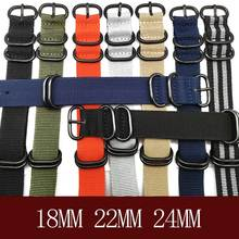 Brand Heavy duty nylon straps 20mm 22mm 24mm Nylon Watch Band NATO Strap Zulu strap watch strap ring buckle 280mm Nato Watchband купить недорого в Москве