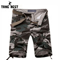 TANFNEST Summer 2017  Men's Pure Cotton Knee Length Shorts Camouflage Straight Beach Shorts High Quality Plus Size 30-38 MKD333