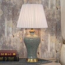Lámpara de mesa Vintage Retro de estudio de sala de estar antigua de China lámpara de mesa de cerámica de porcelana lámpara de mesa de trabajo de decoración de boda grieta