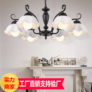American country chandelier living room bedroom lamp ceramic chandelier simple restaurant lamp suction crane dual-use lamp