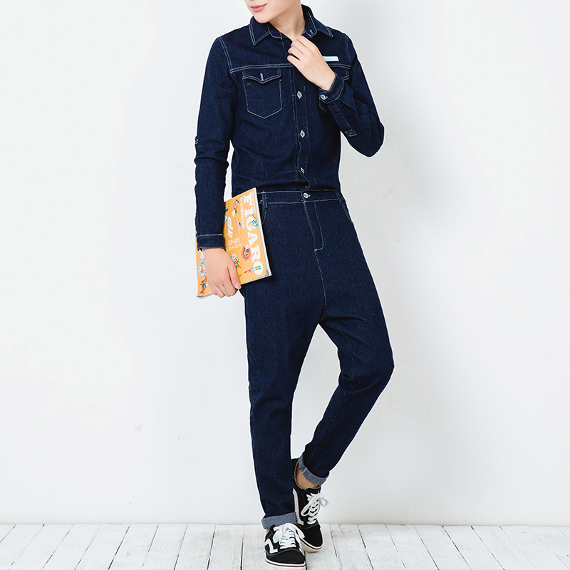 2019 New Men's Printing Jumpsuits Korean Casual Street Style Overalls Men's Dark Blue   Jeans   Size M L XL