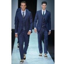 New Men's Casual Slim Fit Formal Two Button Suit Blazer Coat Jacket Tops costume mariage homme 3 pieces (jacket + pants + vest)