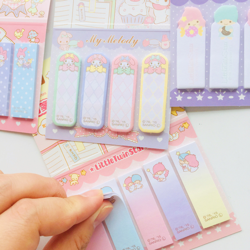 80 /100 Pages Kawaii Melody Litter Twin Stars Stick Label Memo Pad Sticky Notes School Supply Student Stationery