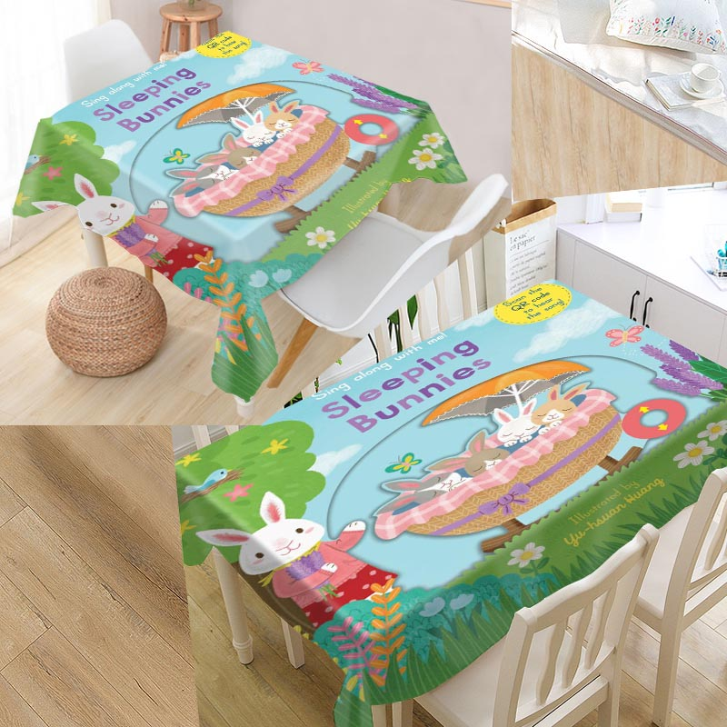 Custom Sing Along With Me Table Cloth Oxford Rectangular Waterproof Oilproof Table Cover Wedding Tablecloth #QAZ98K