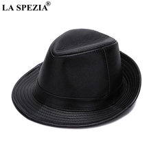 LA SPEZIA Black Fedoras Hats Men Genuine Leather Retro Jazz Caps Gentleman Real Luxury Spring Classic Felt Trilby Hat