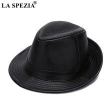 LA SPEZIA Black Fedoras Hats Men Genuine Leather Retro Jazz Caps Gentleman Real