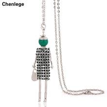 2017 new doll pendant necklace green crystal girl female charm long chain jewelry big choker handmade doll necklace rhinestone