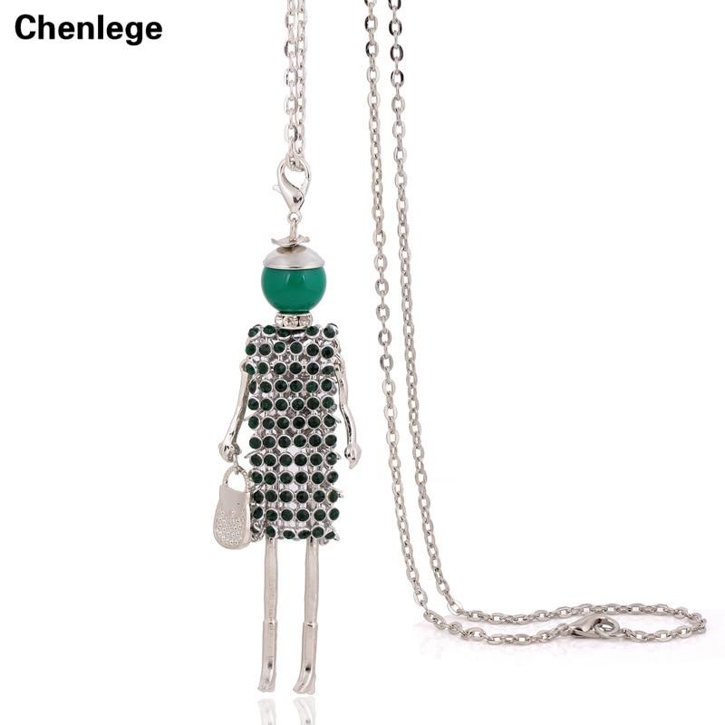 nova lutka privjesak ogrlica zeleni kristal djevojka ženski šarm dugi lanac nakit veliki choker ručna izrada lutka ogrlica rhinestone