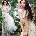 Moda Floral impresión Maxi vestidos largos gasa vestidos 2016 mujeres de moda verano estilo mujeres chica Beach Dress G76