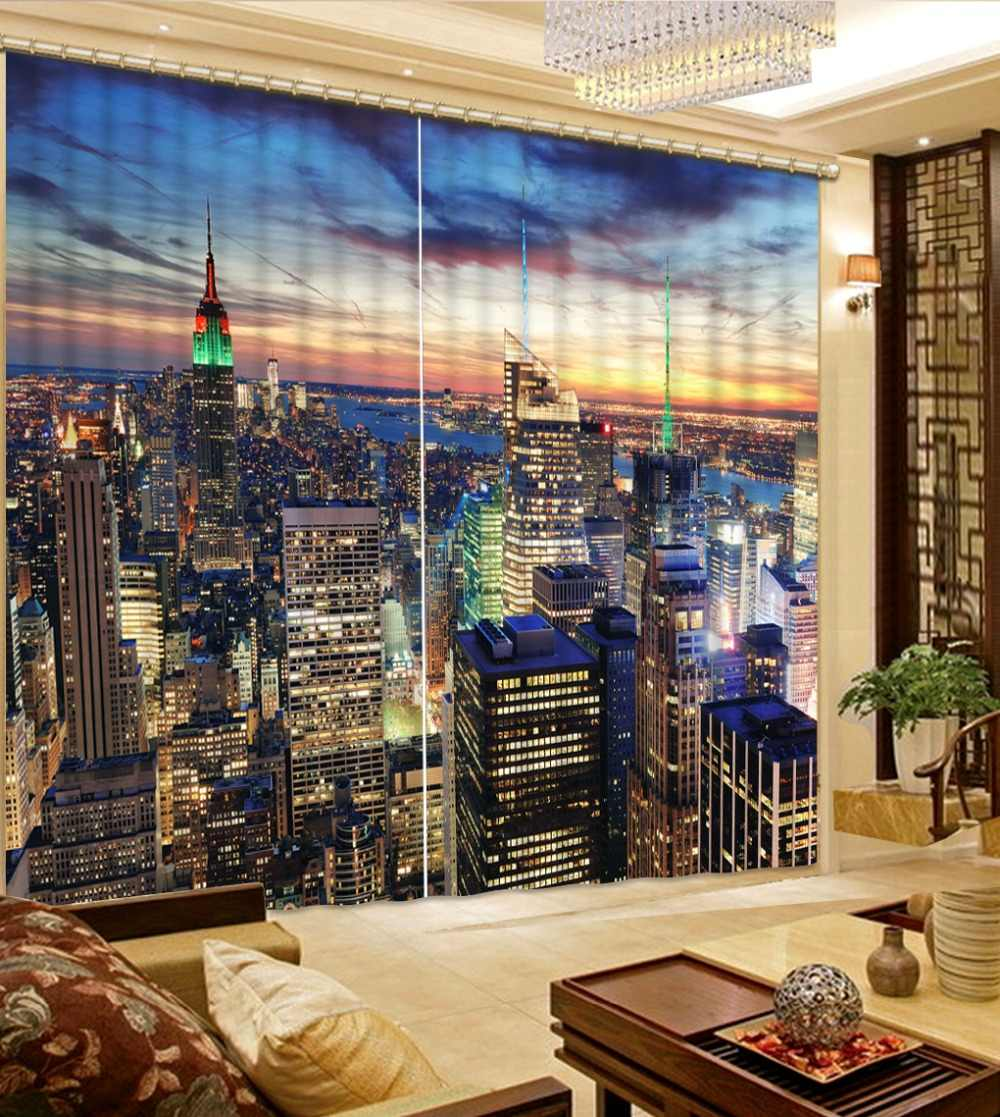 2019 Living Curtains Bedroom Bedding room 3D Curtains Curtain Window city building Kids Curtains For Girls