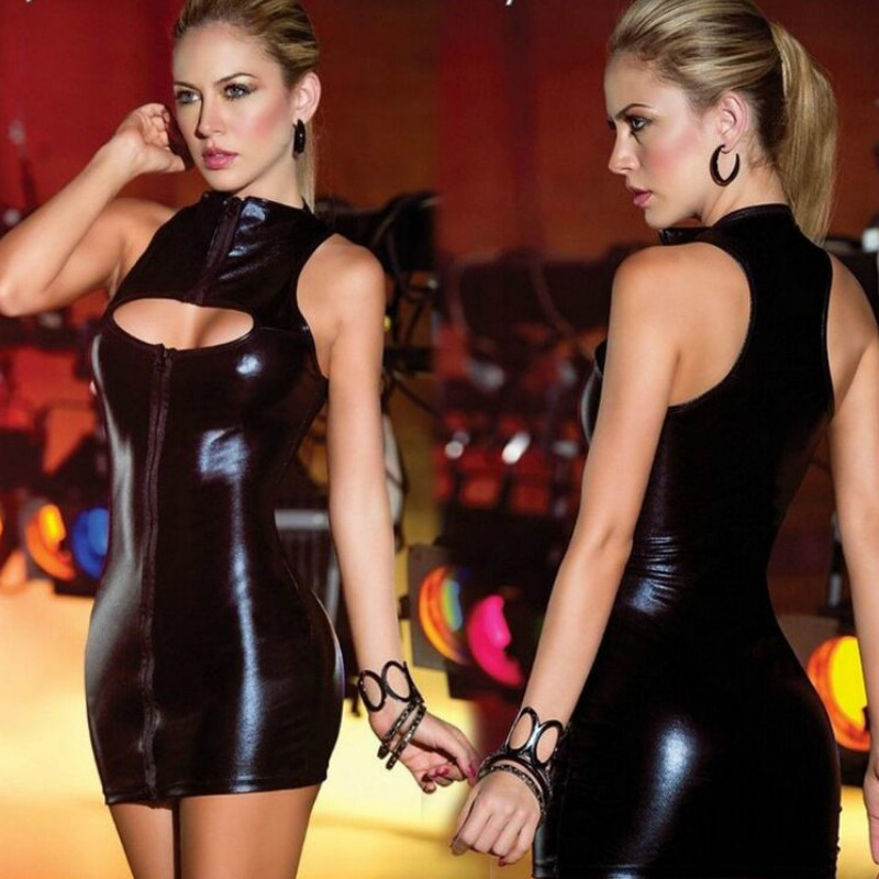 2018 Women Sexy Erotic Dress Ladies Night Club Dress Catsuit Black Blue Lace Up Bondage Tight Dancewear Supermini Dress