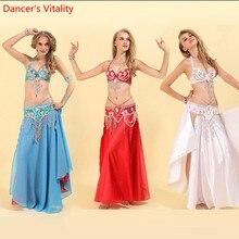 Juego de 3 piezas de lujo (sujetador, falda) para mujeres, trajes de danza del vientre hechos a mano con cuentas, espectáculo de danza Oriental en el escenario, falda