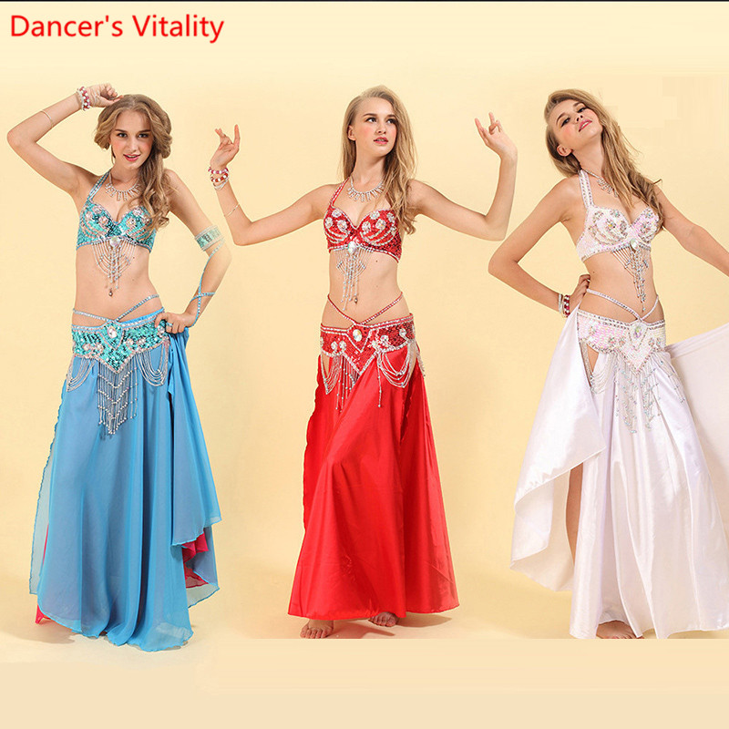 Luxury 3-piece Set (bra,skirt ) For Women Belly Dance Costumes Handmade Beaded Oriental Dance Show On Stage Wearing Skirt