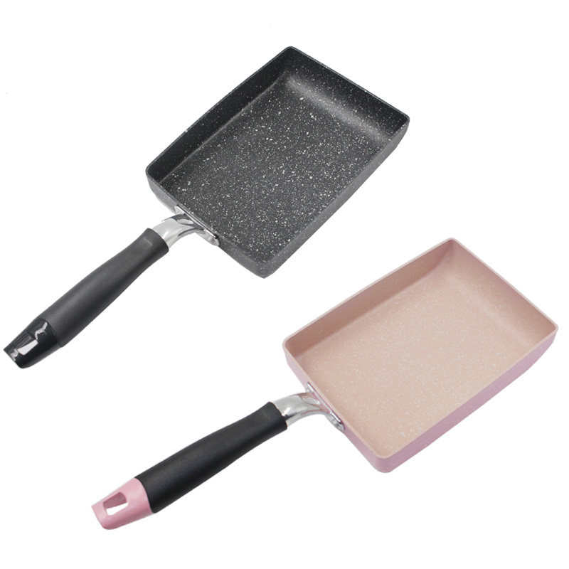 Burning Pan Frying Omelet Fried Eggs Square Pan Aluminum Non-Stick Frying Pan Two Colors Available Cookware